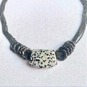 Multicolour Marble Stone Statement Brass Necklace